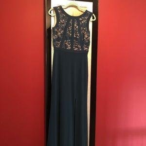 Hunter green floor length dress